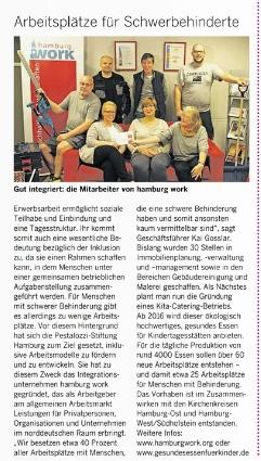 Auszug aus dem Abendblatt, hamburg work Arbeitsplätze für Schwerbehinderte