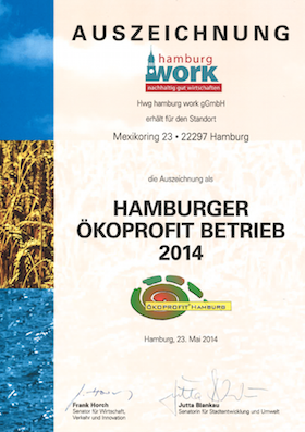 hamburg work Auszeichnung Hamburger Ökoprpfit Betrieb 2014