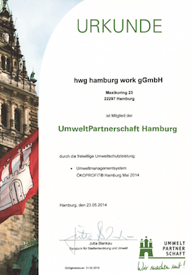 hamburg work Urkunde UmweltPartnerschaft Hamburg